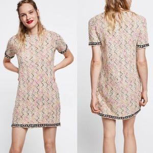 Zara Tweed Short Sleeve Dress Sz L